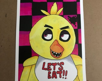 FNAF- Chica The Chicken Art Print