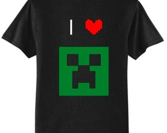I Love Minecraft Creeper Face T-Shirt