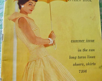 Vintage 1950s Butterick  PATTERN BOOK Catalog Magazine - - Summer 1955  with 64  Pages / Wrap Dresses, Sheers, Long Torso Lines