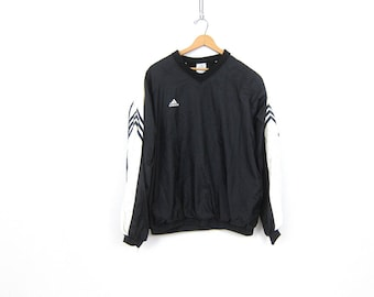 Adidas pullover windbreaker jacket Sporty black & White slouchy work out shirt athletic wear sports sporty track Nylon pullover COED Large
