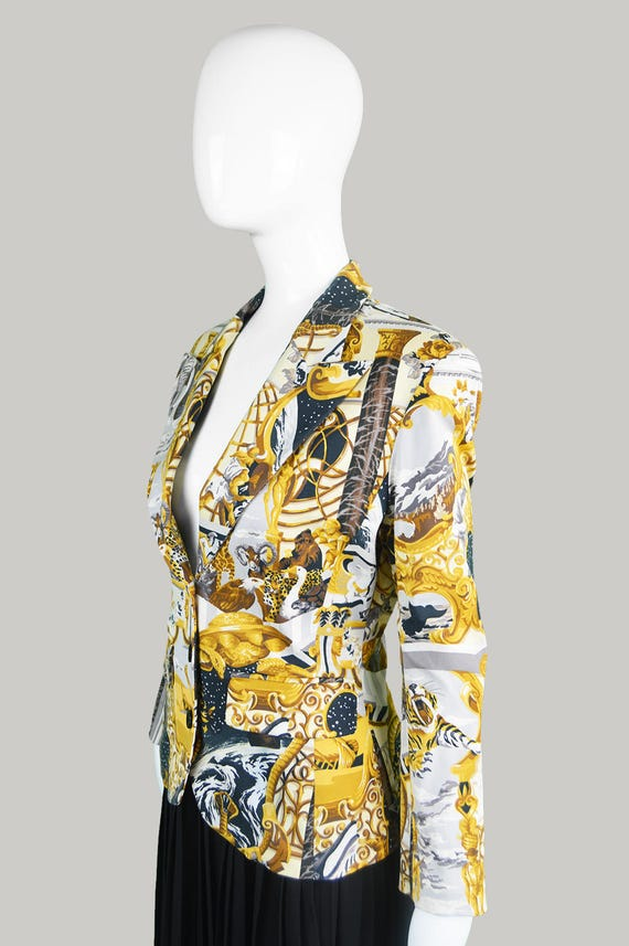 Vintage Tailored Over Jacket French Jacket Lapels Designer Fitted Blazer Peaked Womens Baroque Jungle Jacket All 90s KENZO Print Blazer trwzBqrg