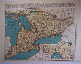 1941 Vintage map Quebec and Ontario Canada Province maps, Original antique map