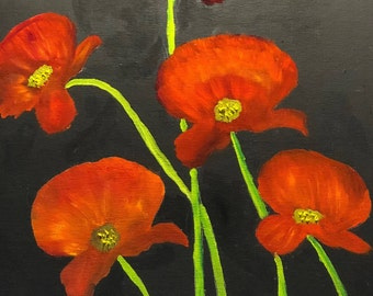 Oil painting of poppies.