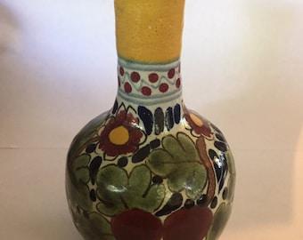 Vintage Mexican Pottery bud Vase Talavera La Corona