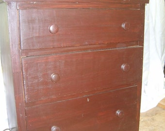 Antique 1908 Handmade Small Dresser-Cute & Unusual-Made in Chemung New York of Various Woods