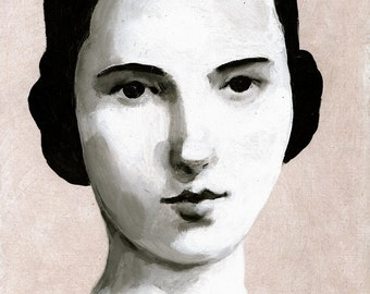 black and white painting of a young lady / Original acrylic painting of a woman