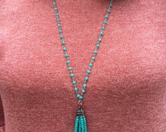 Beaded Layering Necklace - Turquoise