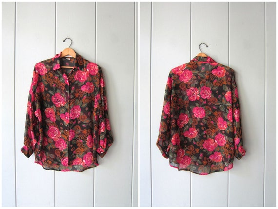 Sheer Floral Blouse Button Up Flower Print Blouse Long Sleeve Oversized 90s Revival Prep Top Vintage Black Pink See Through Top Womens XL