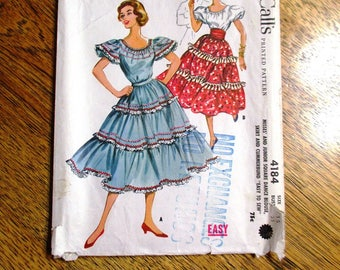 """Mid Century Modern 1950s Square Dance Outfit / Tiered Gypsy Skirt & Blouse - Size 15 (Bust 35"""") - UNCUT Vintage Sewing Pattern McCalls 4184"""