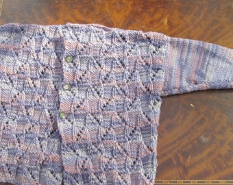 toddler handknit purple and mauve variegated cardigan