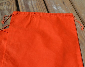3x5 inch ORANGE Cotton Muslin bags, Art Craft Bags, Reusable Bags with Double Drawstring -Choose from Quantities. (25, 50 or 100).
