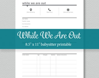Babysitter Notes Printable - Editable PDF - Digital Download - Standard Letter Size