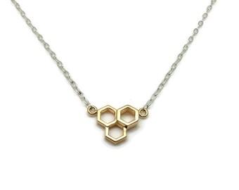 HONEYCOMB NECKLACE, HONEYCOMB jewelry, hexagon jewelry, dainty necklaces for women, beekeeper gift,  modern mimimalist, honey bee jewelry