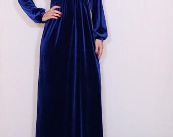 Blue velvet maxi dress Long sleeve dress Empire waist dress  Maternity clothing