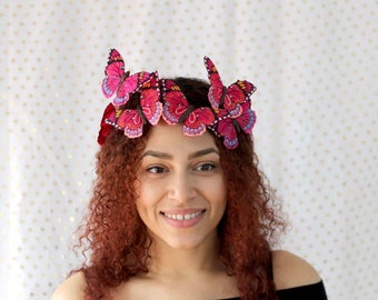 Magenta Butterfly Crown - princess, fairy, bride, woodland crown, pink butterfly