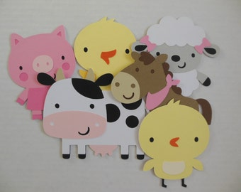 Farm Animal Cutouts - Chick, Cow, Horse, Lamb, Pig and Duckling - Birthday Party Decorations - Baby Shower Decorations - Set of 6