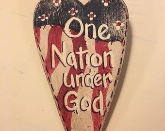 One Nation Under God Patriotic Inspirational Message Heart