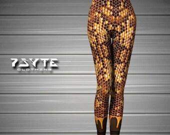 Honeycomb Leggings, Save the bees, Honey Bee outfit, Gold leggings, Yoga leggings, Honey Pot Pants, Festival Leggings, Yoga Pants, Gym pants