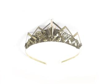 Yara Crystal Quartz and Gold Filigree Crystal Tiara - by Loschy Designs