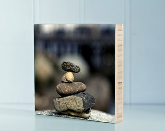 Bamboo Block, stacking rocks, landscape, outdoors, print, wall art, wood, photography, hike, water, boat, nautical, rocks, sand, simple,