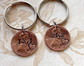 Runners Good Luck 2018 Penny Keychain/ Custom Inspirational/ 3K to 26.2 Stamped / Keychain/ Runners Gift 2018 / Copper Metal Stamped