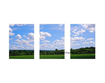 CLEARANCE Landscape Photography, Nature, Blue Sky, White Clouds,  Sunny Summer Photos -Three 5x7 inch Photographs - Triptych - Summer Breeze