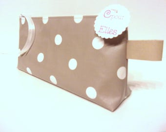 Taupe dots and white makeup or pencil case