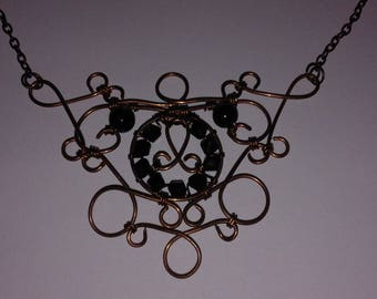 Copper wire wrapping necklace
