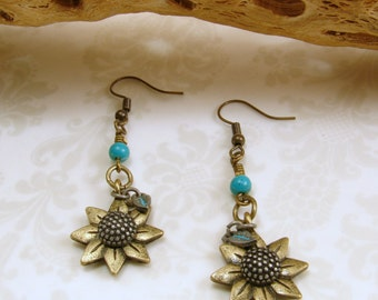 Antique Brass Sunflower with Turquoise Dangle Earrings
