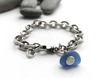 Cornflower Blue Seaglass Beach Glass Sterling Silver Vintage Recycled Tiffany Style Heavy Chain Bracelet Adjustable