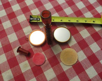 Vintage 1940s House of Plate Trio-Ette Mirror Compact w/ free ship