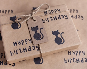 Happy Birthday Cat Wrapping Paper, Including 1 x Gift wrap, 2 x Gift Tags & Twine.
