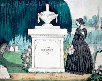 Lovely Antique Early Victorian Funerary Engraving Of A Woman In Mourning Attire 5x7 Greeting Card