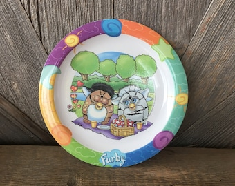 Vintage Furby Plate {Trudeau 90s Kid Talking Bird Ferby Furbie Plastic Kid Play Dishes Baby Plate} Birthday Party Melmac Toy Picnic Plate