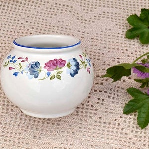 Vintage BHS Priory Tableware Made in Britain Floral design White and Blue Sugar Bowl Retro English & Bhs tableware   Etsy