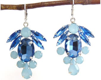 Sapphire Blue & Light Aqua Rhinestone Drop Earrings, Variety of Stone Shapes, Silver Tone