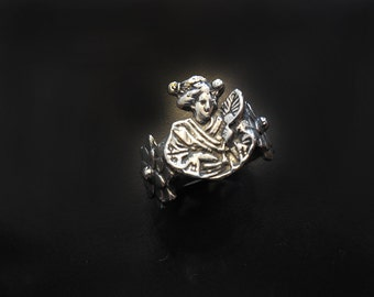 Geisha and Mum Flower Ring in Sterling Silver
