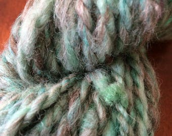 Turquoise hand dyed hand spun art yarn 31 yards 2 ply