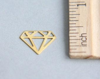Diamond Charm, 24K Gold plated sterling silver charm, Gold Plated diamond charm,Tattoo Charm, Outline Diamond Charm, 12mm ( 1 piece )