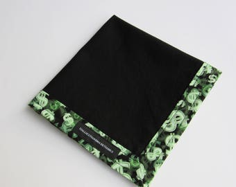 EDC Hank One Off Hank OOAK Money Fabric Dollar Bill Sign Green and Black Handmade Hank Everyday Carry Hank Mens Handkerchief Gift for Him
