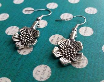 Silver Flower Drop Earrings