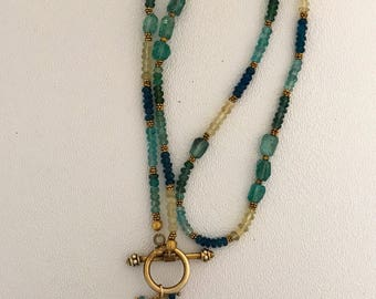 Apatite and Aquamarine lariat necklace