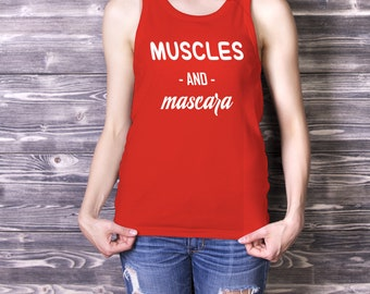 Muscles and Mascara Tank, Workout Tanks, Gym Tank, Womens Running Tank, Yoga Tank, Funny Workout Tank, Running Tanks Women, Gym Tops, runnin