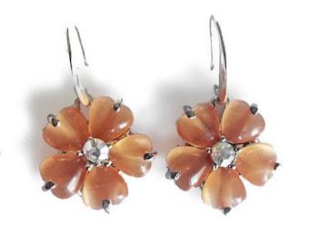 Hearts to Flowers earrings, delicate shimmering sparkling earrings