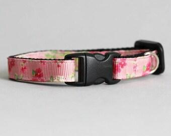 Pink Floral Cat Collar Breakaway Cat Collar Pink Blossom Collar Flower Cat Collar Ribbon Cat Collar Summer Cat Collar Vintage Flower Collar