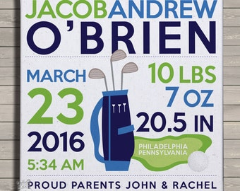 Birth announcement print on canvas golf birth announcement poster on wood frame