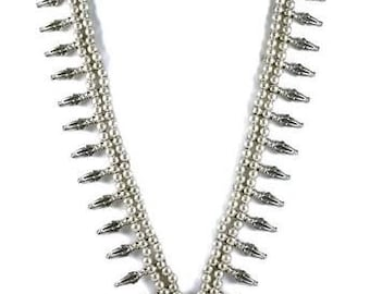 Silver Gypsy Spear Long Statement Seneca Tribal Necklace