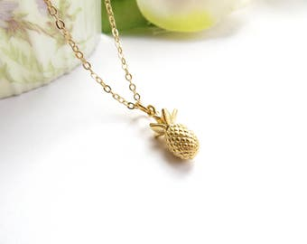 Petit Pineapple Necklace, Gold Pineapple Necklace, Vacation Jewelry, Pineapple Pendant Necklace, Tropical Necklace, Layering Necklace