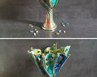 Raku Pottery vase, ceramic goblet, decorative vase, ceramic vessel, large vase, beach home decor, pierced vase, ceramic openwork, OOAK