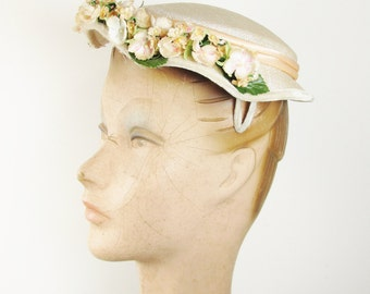 Vintage Hat with Apple Blossoms, Spring Topper